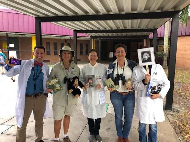 Glendale's 4th grade teachers dress as notable scientists for the nonfiction character parade during Literacy Week